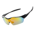H:oter® UV400 100% Protection Unisex Sport Wrap Sunglasses With 5 Interchangeable Lenses