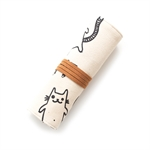 Lovely Canvas Roll Pen Bag Art Student Stationary Simple Cartoon Pencil Holder Cute Cat