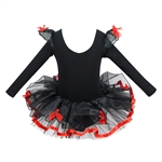 Hoter® Black Swan Long-sleeved Red Fringed Ballet Tutu Dress Size 5-10, Price/Piece