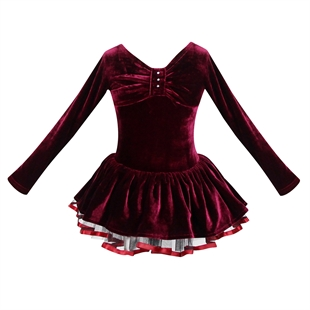 Hoter® Winter Dull Red Plush Bow Design Tutu Dress, For Size 5-8 Girls, Price/Piece