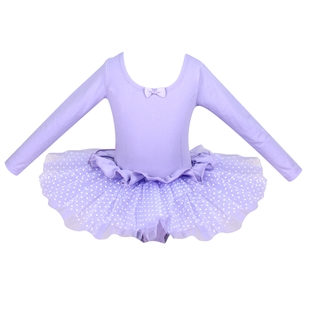 Gift Idea! Hoter® Pure Purple WavePoints Long-sleeved Ballet Tutu Dress, Girls Size 4-8, Price/Piece