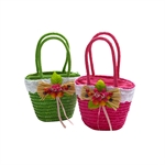 Gift Idea! Childrens straw bag basket toy carry case basket for little girls