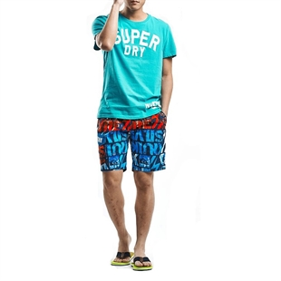 H:oter SunnyBoy Men's Letter Printing Quick Drying Swim Beach Shorts