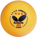 BUTTERFLY 3-Star 40mm Table Tennis Balls, For Level Superstar And Hall Of Fame (3-Pack) Orange