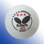 BUTTERFLY 3-Star 40mm Table Tennis Balls, For Level Superstar And Hall Of Fame (3-Pack) White