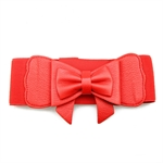 Lady Waist Wide Elastic Fashion Belt Features Flower Detail