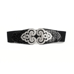 H:oter® Women's Fashion Waist Wide Elastic Gorgeous Fashion Elastic Belt Features Diamond Detail