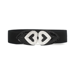 H:oter® Lady Waist Wide Elastic Gorgeous Fashion Belt Features Diamond Flower Detail