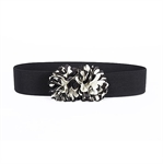 H:oter® Women's Waist Wide Elastic Gorgeous Fashion Belt Features Silk Flower Detail