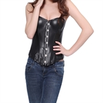 VENI MASEE Faux Leather Fashion Boned Corset,Black and Red