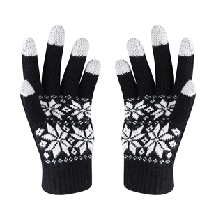 VENI MASEE® Christmas Warm Gift! Men Four Snow Flower Print Wool Touch Screen Gloves