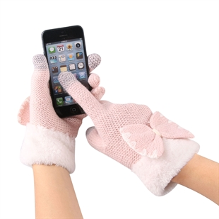 VENI MASEE® Christmas Warm Gift! Women Cute Bow  Wool Touch Screen Gloves