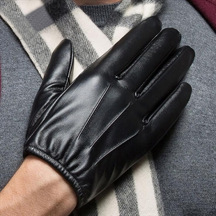 HÖTER Mens Warm Plus Velvet Driving PU Leather Touchscreen Gloves