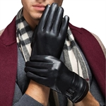 HÖTER Lovers Womens Mens Warm Plus Velvet Driving PU Leather Touchscreen Gloves