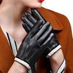 HÖTER Womens Warm Plus Velvet Driving PU Leather Touchscreen Gloves