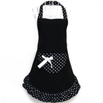 VENI MASEE® Womens Ladies Fancy Sexy Bowknot Dots Maid Apron - Black