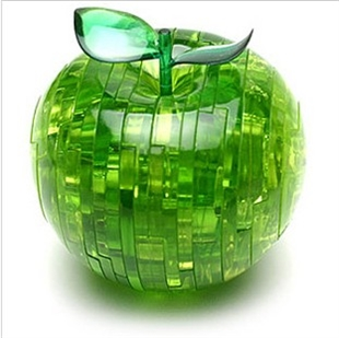 3D Jigsaw Puzzle, Cube Crystal Puzzle - Apple, 2 Colors, Gift Ideas