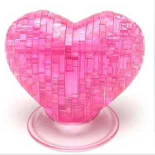 3D Jigsaw Puzzle, Cube Crystal Puzzle - Heart, 3 Colors, Gift Ideas