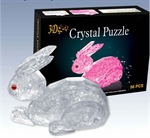 3D Jigsaw Puzzle, Cube Crystal Puzzle - Rabbit, 2 Colors, Gift Ideas