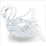 3D Jigsaw Puzzle, Cube Crystal Puzzle, LED Light & Music - Swan, 2 Colors, Gift Ideas