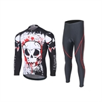 VENIMASEE Fashion Skull Patten Men Cycling Jacket Set Winter Fleece Thermal Padded Pants Bibshorts S-3XL