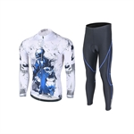VENIMASEE Men Cycling Jacket Set Skull Patten Winter Fleece Thermal Padded Pants Bibshorts S-3XL