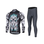 VENIMASEE Skull Patten Men Cycling Jersey Set Winter Fleece Thermal Padded Bibshorts S-3XL