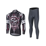 VENIMASEE Men Long Sleeve Bicycle Jersey Set Winter Fleece Thermal Skull Patten Padded Pants  S-3XL