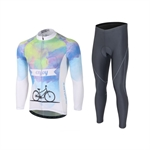 VENIMASEE Winter Fleece Thermal Cycling Jersey Set Long Sleeve 3D Padded Bibshorts Bicycle Clothing for Man S-3XL
