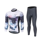 VENIMASEE Cycling Jersey Set Long Sleeve Winter Fleece Thermal 3D Padded Cycling Pants for Man S-3XL