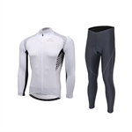 VENIMASEE Long Sleeve Bicycle Jersey Set Padded Tight Pants Windproof Winter Fleece Thermal Black/White/Blue S-3XL