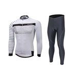 VENIMASEE Winter Cycling Jersey Set Long Sleeve Fleece Thermal Padded Tight Pants Windproof Black/White S-3XL