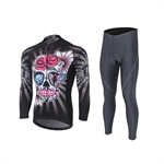 VENIMASEE Men Long Sleeve Cycling Jersey Set Winter Fleece Thermal Skull Patten 3D Padded Pants S-3XL