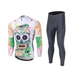 VENIMASEE Men Cycling Jersey Set Winter Long Sleeve Fleece Thermal Skull Patten 3D Padded Pants S-3XL