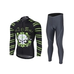 VENIMASEE Men Cycling Jersey + 3D Padded Bibshorts Pants Winter Long Sleeve Fleece Thermal Skull Patten S-3XL