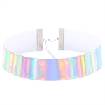 VENI MASEE Fashionable Exaggerated Laser Leather Glowing Choker Necklace Collar Multi-colored Street Snap/Night Club/Souvenir/Gift