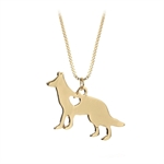 VENI MASEE Latest Pet Dog Heart Print Pendant Chain Necklace Gold Silver