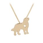 VENI MASEE Latest Pet Dog Heart Print Pendant Chain Necklace Gold