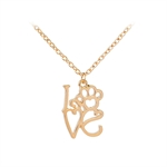 VENI MASEE Latest Distinctive Pet Dog Paw I LOVE YOU Letter Heart Print Pendant Chain Necklace
