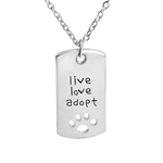VENI MASEE Latest Creative Pet Dog Paw Letter Live Love Adopt Print Pendant Chain Necklace