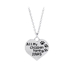 VENI MASEE Latest Creative Pet Dog Paw Letter Print Pendant Chain Necklace