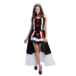 Ladies Womens Sexy Queen of Hearts Alice Card Suit Fancy Dress Costume - FREE Stockings