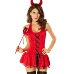 Devil Lady Halloween Fancy Dress Costume/Lady Brimstone Costume With Devil Horns Headband & Pitchfork