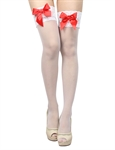 Women's Sheer Thigh-High Stockings With Satin Bow