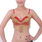 VENI MASEE Belly Dancing Flower-sequined Beaded Fringe Bra, Belly Dancing Costume, Price/Piece