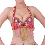 VENI MASEE Belly Dancing Sequined Beaded Fringe Bra Top With Colorful Stones, Belly Dancing Costume & Accessories, Price/Piece