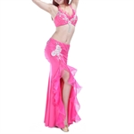 VENI MASEE Belly Dance Hotpink Exotic Costumes Fringed With Lace & Sequins--Top Bra & Split Skirt, Price/Set
