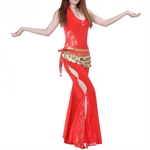 VENI MASEE Belly Dance Elegant Lace Fringed Exotic Costumes Set--Lace Vest & Lace Flared Pants, Price/Set