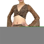 VENI MASEE Belly Fashion Leopard Pattern Lotus-sleeved Belly Dance Top Bra, Price/Piece