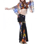 VENI MASEE Belly Dance Mixed Colors Exotic Costumes Set--Lotus-sleeved Top & Waist Pants, Price/Set